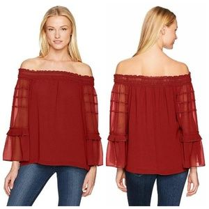Chiffon Off Shoulder Long Bell Sleeve Tiered Top